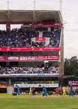Cricket wide action. Wide view of the cricket game between India and Australia played in Ranchi on the 23rd October royalty free stock photography