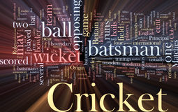 Cricket word cloud glowing Royalty Free Stock Photos