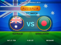 Cricket World Cup 2015 match schedule. Australia vs Bangladesh, 11th match schedule with its date, time and place for Cricket World Cup 2015 Stock Photography