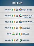 Cricket World Cup 2015 matches schedule. Ireland vs other participating countries, Cricket World Cup 2015 matches schedule Stock Photography