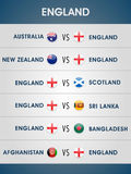 Cricket World Cup 2015 matches schedule. Cricket World Cup 2015, list of England matches with other participating countries Stock Photos