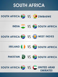 Cricket World Cup 2015 matches schedule. Cricket World Cup 2015, list of South Africa matches with other participating countries Stock Photography