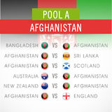 Cricket World Cup 2015 time table. Cricket World Cup 2015 schedule matches time table of Afghanistan with other countries Royalty Free Stock Photography