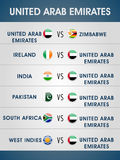 Cricket World Cup 2015, UAE matches schedule. Cricket World Cup 2015, list of United Arab Emirates matches with other participating countries Royalty Free Stock Image