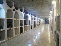 03 10 2015 CRICOVA, MOLDAVIEN stor underjordisk vinkällare med Co Arkivfoto