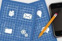 Crie apps móveis Imagens de Stock Royalty Free