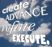 Crie avançado refinam executam o plano da estratégia das palavras 3d Foto de Stock Royalty Free