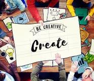 Crie ideias que criativas da faculdade criadora a imaginação inspira o conceito Foto de Stock