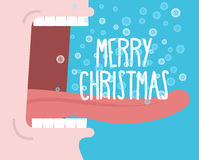 Crie l'hiver Noël de cri d'homme Joyeux Ouvrez votre bouche et illustration stock