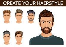 Crie, mudança de escolhas do penteado Barba do moderno do símbolo do penteado dos homens, bigode à moda, moderna Ilustração do ve Fotos de Stock Royalty Free