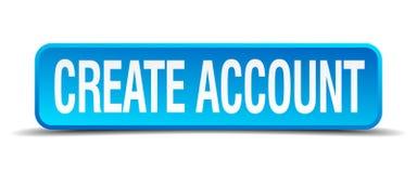 Crie o botão isolado da conta quadrado azul Imagens de Stock