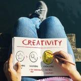 Crie o conceito das ideias da inspiração da inovação da imaginação imagens de stock