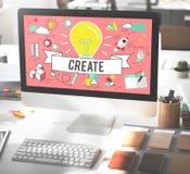 Crie o conceito de pensamento do plano da imaginação das ideias Fotos de Stock
