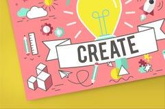 Crie o conceito de pensamento do plano da imaginação das ideias Imagens de Stock