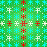 Crie o floco de neve no fundo verde do teste padrão Foto de Stock Royalty Free