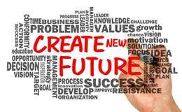 Crie o futuro novo com o desenho relacionado da mão da nuvem da palavra no whiteb Fotos de Stock Royalty Free