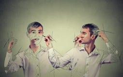 Crie-se conceito Equipe a tiragem de uma imagem, esboço dsi mesmo Fotografia de Stock Royalty Free