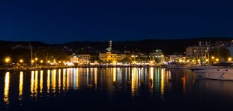 Crikvenica by night Royalty Free Stock Photography
