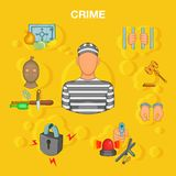 Crime accident concept, cartoon style Royalty Free Stock Photo