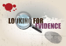 Crime Background. A crime themed background image with the text looking for evidence, set under a magnifying glass. A finger print and blood splatter are visible Stock Image