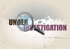 Crime Background. A crime themed background image with the text looking for evidence, set under a magnifying glass. A finger print and blood splatter are visible Royalty Free Stock Photo
