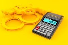 Crime background with calculator. In orange color. 3d illustration Royalty Free Stock Photo