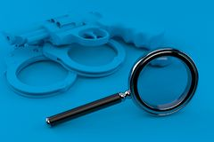 Crime background with magnifying glass. In blue color. 3d illustration Royalty Free Stock Photography
