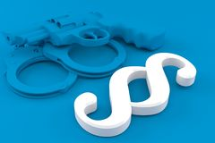 Crime background with paragraph symbol. In blue color. 3d illustration Royalty Free Stock Image