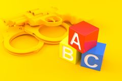 Crime background with toy blocks. In orange color. 3d illustration Royalty Free Stock Images