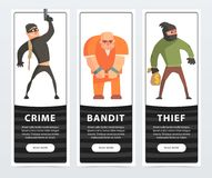 Crime, bandit, thief, criminal and convict banners cartoon vector elements for website or mobile app. With sample text Stock Photos