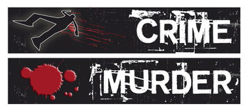 Crime Banners. Two horizontal crime themed banners set on a black grunge background base. Crime and Murder themed Royalty Free Stock Image