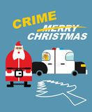 Crime Christmas. Santa Claus in handcuffs. Deer sits in police vector illustration