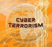 Crime 3d för Cyberterrorismonline-terrorist illustration stock illustrationer