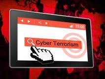 Crime 3d för Cyberterrorismonline-terrorist illustration royaltyfri illustrationer