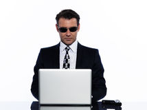 Crime de computação do negócio do cabouqueiro do homem Fotos de Stock