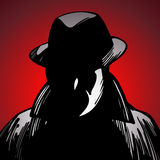 Crime Detective. A detective in shadows searches for crime clues Stock Image