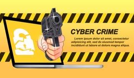 Crime do Cyber no estilo dos desenhos animados ilustração do vetor