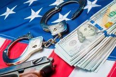 Crime e punição da foto do conceito da lavagem de dinheiro imagem de stock