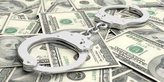 Crime et argent Menottes sur des billets de banque du dollar illustration 3D Photographie stock