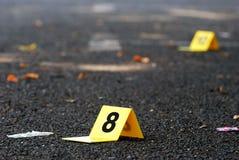 Crime Evidence Marker on Asphalt Royalty Free Stock Image
