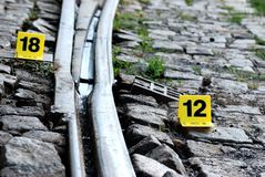 Crime Evidence Marker Next to Rails Royalty Free Stock Images