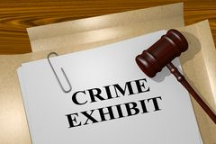 Crime Exhibit concept. 3D illustration of CRIME EXHIBIT title on legal document Royalty Free Stock Photography