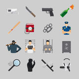 Crime flat icons Royalty Free Stock Images