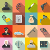 Crime flat icons. Set for web and mobile devices Royalty Free Stock Photo