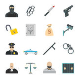 Crime flat icons. Set for web and mobile devices Stock Photo