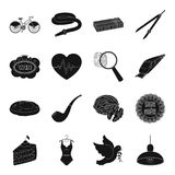 Crime, food, cottage, tool and other web icon in black style. Stock Photo