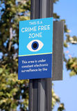 Crime Free Zone. A sign declaring a crime free zone Stock Images