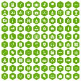 100 crime icons hexagon green Royalty Free Stock Images