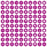 100 crime icons hexagon violet Stock Photos