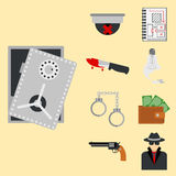 Crime icons protection law justice sign security police gun offence felony transgression flat vector illustration Stock Images